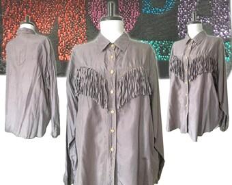 Vintage Silk Western Fringed Blouse — Medium