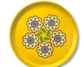 Vintage Retro Yellow Flowers Pink Butterfly Plastic Serving Tray
