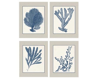 Tan Cream Wall Art, Navy Blue Coral, Set of Four 8x10, Coral Art, Coral Wall Art, Navy Blue Coral Prints, Sealife print Blue 8x10 Prints