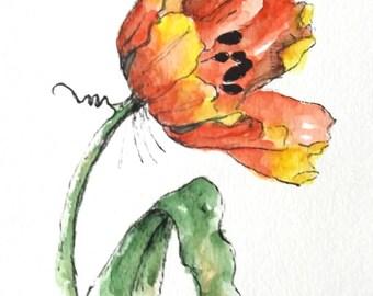 Tulip flower original art watercolor painting pen and ink watercolor flower tulip hand painted