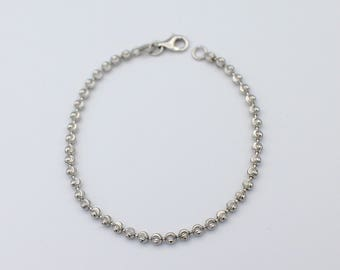 Sterling Silver Bracelet Bangle Moon Cut Beads 3mm Wide by 7 Inches Long