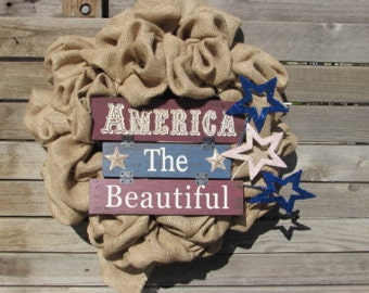 "22"" Patriotic Wreath 4th Of July Wreath July 4th Wreath America The Beautiful Wreath 4th Of July Burlap Wreath Patriotic Door Decor Stars"