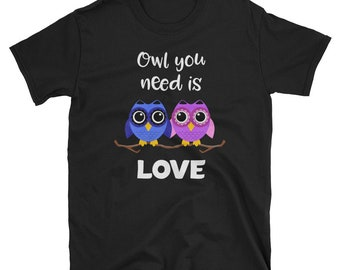 Cute Owl You Need is Love Valentine's Day Couple Partner Gift T-Shirt
