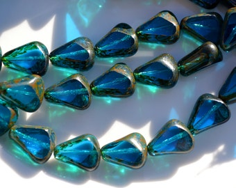 Capri Blue Picasso Chunky Czech Glass Table Cut Drops  6
