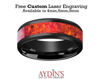 Black Ceramic Ring - Red Opal Inlay - Ceramic Wedding Band - Beveled - Polished Finish - 4mm - 6mm - 8mm - Ceramic Wedding Ring