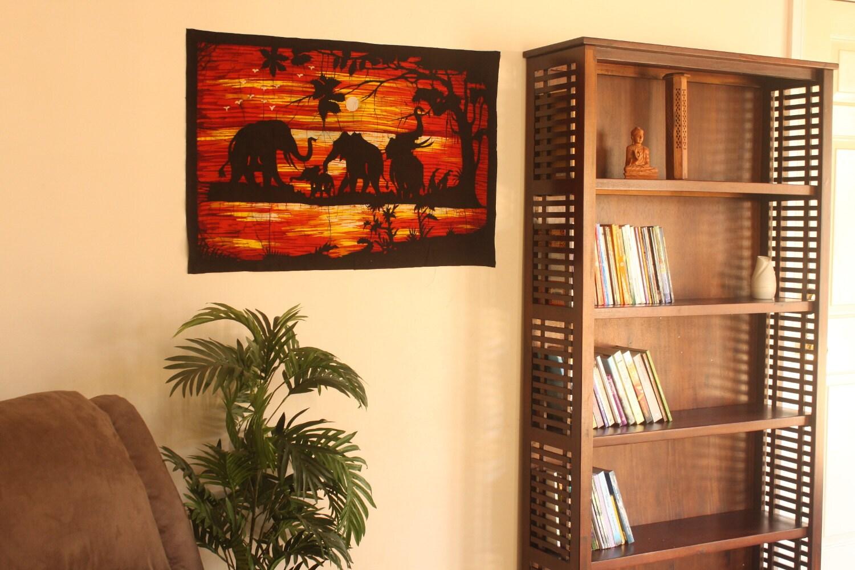 Batik Wall Hanging of Elephants in Sun Set Tapestry Wall Art