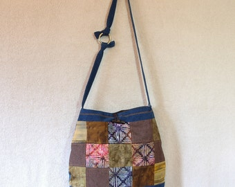 Patchwork denim purse, patchwork cross body bag, denim hobo, hobo bag, hippie bag, boho bag, denim sling, denim slouch bag, recycled denim
