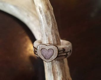 Deer Antler Ring with Heart Inlay