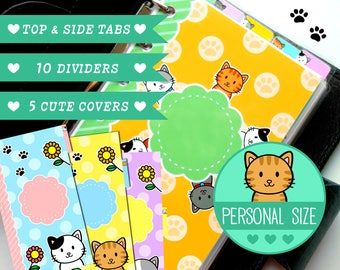Personal Size Kitty Dividers 5 Top Tabs & 10 Covers for Filofax Organizer Planner Printable PDF Instant Download