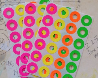 Neon Hole Reinforcements - Set of 72, Hole Stickers, Mail, Planners, Journals