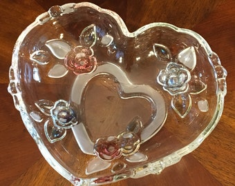 Mikasa Heart Shaped Trinket Dish, Candy Dish, Blue and Red Flowers, Scalloped Trim, Frosted and Clear Glass