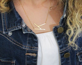 Silver Rose Gold or 16k Gold Plated Large Sideways Initial Necklace-Birthday Gift For Her-Best Friend Gifts-Initial Jewelry-Letter Necklace