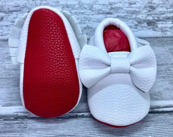 White Red Sole Baby, Red Bottom Moccasin Baby Pram Shoes - Like Mummy's Louboutins but Designer Inspired! Louboutin Baby!