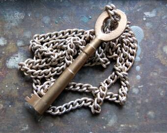 Large Vintage Skeleton Key Necklace with Vintage Chain