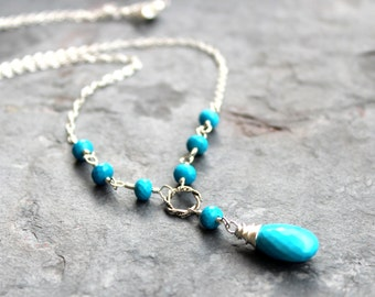 Turquoise Necklace Blue Stone Gemstone Briolette Beaded Sterling Silver December Birthstone