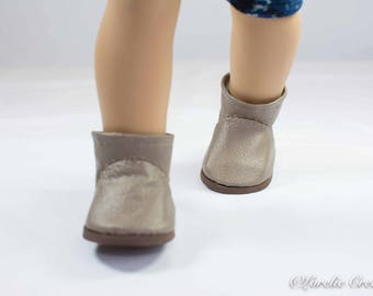 "Doll Ankle BOOTS in Short Length in BEIGE Taupe Tan Faux LEATHER with Decorative Stitching Trim for American Girl or 18 "" Doll"
