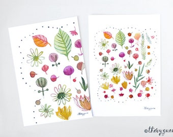 Flower bud blossom watercolor postcard, Flower illustration, Colorful flower card, Botanical art, Flower stationery, Cute stationery, Leaves