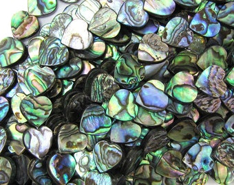 "12mm abalone shell heart beads 16"" strand 32102"