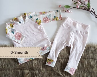 Girl homecoming outfit, 0-3month baby girl clothing set, soft pink and floral, handmade baby clothes, newborn girl clothes,baby girl outfit