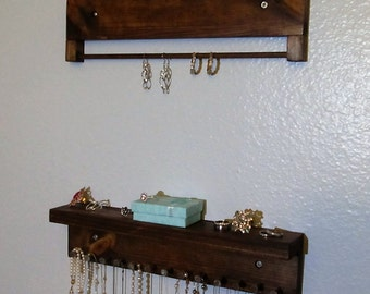 Rustic Jewelry Organizer - Jewelry Shelf - Jewelry Organizer - Necklaces Storage - Earring Holder -Necklace Holder - Jewelry Storage