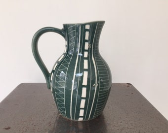 Vintage Kaj Franck for Arabia Finland Green Ladder Zig Zag Pitcher Jug