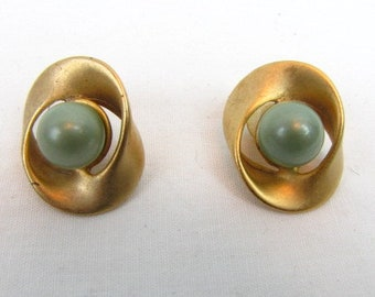 """Vintage Weekender Earrings / Infinity Circle / Light Sage Green Ball / Gold Tone / Matte Gold Tone / Butterfly Stamp Logo / 1 1/4"""""""