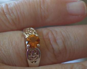 Sterling Silver Natural Citrine 6mm Round Ring .65ct size 7