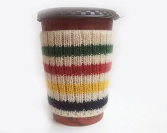 Hand Knit Canadian Hudson Bay Point Blanket Design Eco Friendly Coffee Cup Cozy Mug Sleeve