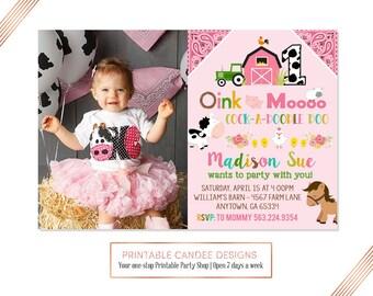 Pink Farm Animal Birthday Invitation, Farm Birthday Party invitation, Adorable Farm Party invite, Barnyard birthday party, Farm 1st birthday