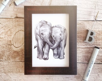 Elephant Art Print - Friendship Art Print, Mother and Child, Father and Child, Christmas Gift, Christmas Elephant