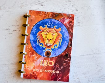 Astrology Calendar Cover - Leo Planner Cover - Mini Planner Cover - Disc Bound Cover - Discbound Journal Cover - Laminated Planner Cover