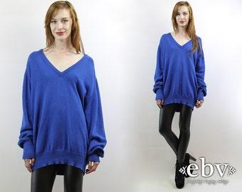 Oversized Knit Oversized Jumper Blue Sweater Normcore Sweater Minimalist Sweater XL Sweater Vintage 70s Blue Oversized Sweater S M L XL