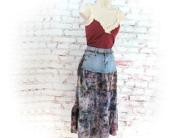Denim skirt, Designer skirt, Black skirt, upcycled denim skirt, Size 8 skirt,    # 8
