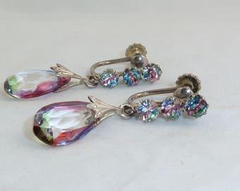 Vintage Sterling Silver Rainbow Crystal Dangle Screw Back Earrings
