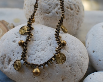 Brass spiral,macrame necklace,Turquoise  necklace-healing stones,hypoallergenic,adjustable necklace.