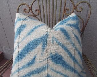 White African mud cloth Zebra light indigo tie dye  Mud cloth pillow cover