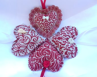 Heart decorative to suspend Collection in my cottage in shades of Red-bordeaux (ref 1)