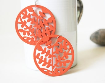 Buy 3 Get 1 FREE/ Orange little Leaves Laser Cut  ,Naturally Beauty from Wood.