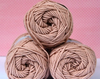 Kacenka - soft cotton/acrylic yarn for crochet and knitting, Light cocoa, No. 7324, 1 ball/50 g, Producer NCT
