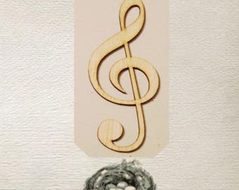 Clef Note / Music /  Wood Cut Out - Laser Cut