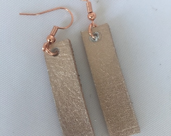 Rose gold jewelry/rose gold earrings/leather earrings/leather bar earrings/leather jewelry/recycled jewelry/rose gold bar jewelry