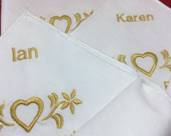 Linen Napkins with embroidery embellishment personalised