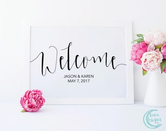 Printable Welcome Sign / Welcome Wedding Signs / Handwritten Sign / Wedding Welcome Sign / Black and White Sign / Jamie Suite
