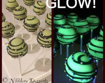 12 Lumo NEON GLOW cake pops, neon colors, Cosmic Party, I love the 80s, glows in black light