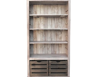 Bookcase, Bookshelves, Display Cabinet, Reclaimed Wood, Vintage, Rustic, Palisades, Crates