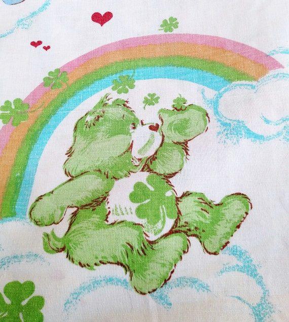 Vintage 1982 Care Bears Twin Flat Sheet