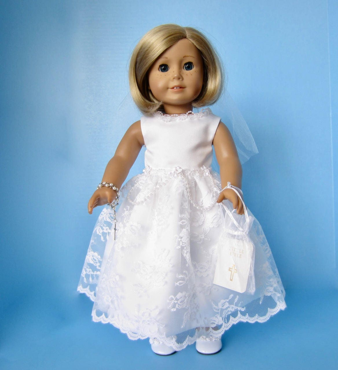 American Girl Doll: First Communion in Lace and Pearls