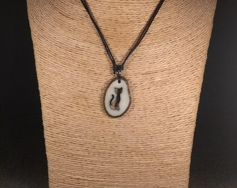 Carved Cat Tagua Nut Necklace
