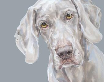 Weimaraner Dog Painting Print -  Ltd ed. Signed  dog print, Weimaraner art, Weimaraner painting, Weimaraner gift