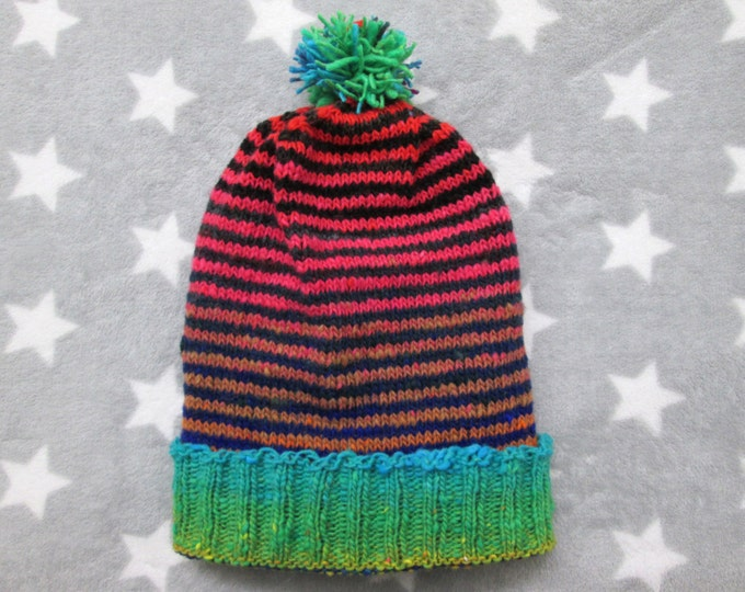 Knit Slouchy Noro Hat - Green Black Pink Stripes